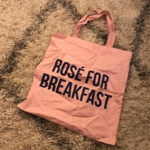 Rose for Breakfast Pink Canvas Tote